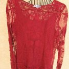 Blair Size L Burgundy Lace Top Stretchy Long Sleeves Gently Used Twice Lined