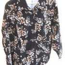 Basic Editions 2X Velvet Shirt Microcord Button Front Black Beige Floral New LS