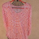 NY & C Size L Sweater Orange White Floral Thin See-Through New NWT $42.95