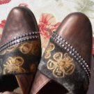 Romus Mules Slides 40 9.5 M Rhinestone Embroidered Genuine Leather Rubber Soles