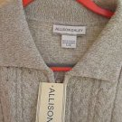 Allison Dailey Sweater L Large Beige Heather Zip Front Career Cotton Knit  New