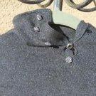 Ralph Lauren Sweater L Silver Gray Lurex Career Silk Cashmere Rhinestone Button