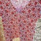 Maternity Announcements Floral Top M Medium Misses Ribbed Cotton Blouse EUC