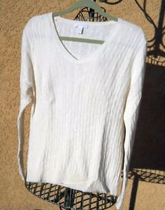 Charter Cub Sweater L Large Off White Career Rayon Wool Angora Long Sleeves New