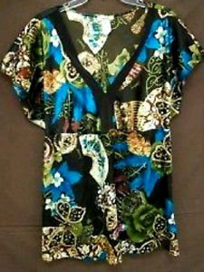 Banabee 3X Plus Blouse Tunic Shiny Top Floral Satin Brown Beige Blue New NWOT