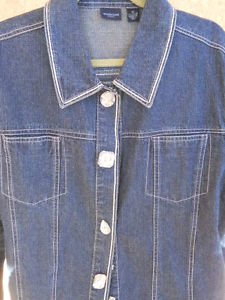 Westbound Jean Jacket Plus Size Women 2X Rhinestone Snap Buttons Gently Used EUC