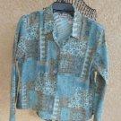 Napa Valley M Jacket Medium Blazer Soft Blue Beige Floral Fabric Flowers New