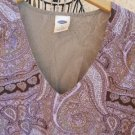 Old Navy XL Stretchy Blouse Taupe Purple Floral Paisley Top Cap Sleeves EUC