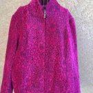Dressbarn Jacket XL Coat Blazer Velvet Fuchsia Black Floral Flower Zip Front New