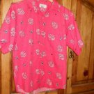 Calvin Klein Shirt Misses L Large Pink Floral Short Sleeves Top Blouse Pre-Owned