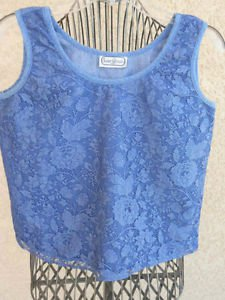 Saint Germain Paris Denim Tank Top L Blouse Floral Lace Covered Excellent Used
