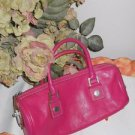 Michael Kors Fuchsia Pink Bag Baguette Small Satchel Genuine Leather Excellent
