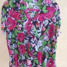 Dressbarn Shirt 1X Floral Sequnis Ruffled Harmonica Top Plus Career Pink Multi