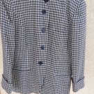 Jones New York Blazer 16 Black White Gold Lined Hounds Tooth Pattern Wool New US
