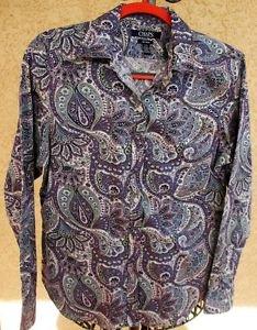CHAPS Ralph Lauren L Shirt No Iron Top purple Floral Paisley Long Sleeves New