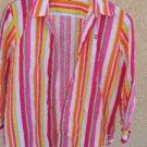 CHAPS Ralph Lauren XL Shirt Rainbow Striped Long Sleeve Buttoned Cotton Top EUC