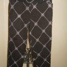 Ann Taylor LOFT Petites Capri Pants 4P Petite Brown White Embroidered Slacks EUC