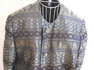 Salvatore Ferragamo Blazer XL Regular Olive Black Gold Metallic Long Sleeves EUC
