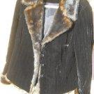 Faux Mink Coat M Black Velvet Jacket Winter New Warm Elegant Shiny Fur Trim New
