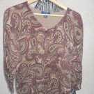 CHAPS M Sweater Medium Paisley Pring Brown Green Beige Long Sleeves Used Once