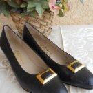 Salvatore Ferragamo Shoes 9.5 AA Black Leather Pumps Snake Print Toe Used Good