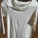 St John's Bay S Stretch Knit Top Ivory Color Pearl Embellished Beaded Career New