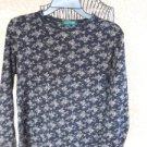 Lauren Ralph Lauren L Knit Top Flowers Blouse Black Beige Floral Gently Used