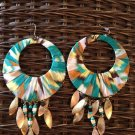 multi colored fabric covered hoop earrings