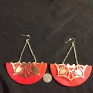 Red and gold earrings fashion costume jewelry