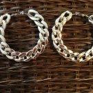 Fashion hoop silver toned large link earrings