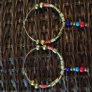 Beaded hoop dangle earring