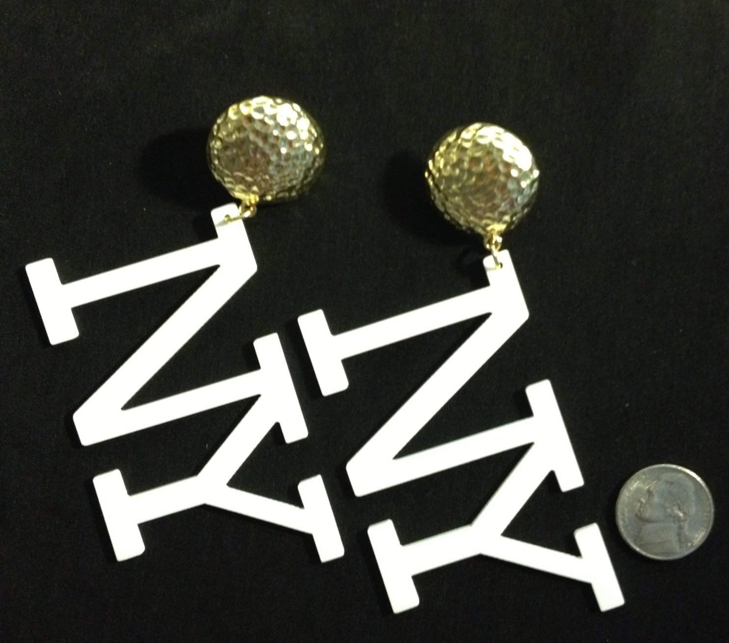 """NY"" gold stud with white letters fashion earrings"