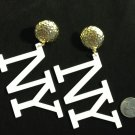 """""""NY"""" gold stud with white letters fashion earrings"""
