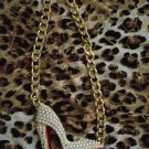 Pearl covered red bottom pump necklace