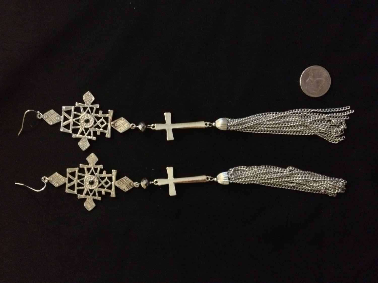Extra long chains and cross fashion earrings