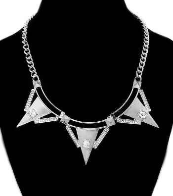 Short Metal Urban Glam Crystal Theme Spike in/with Silver Rhodium