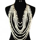 Chunky pearl layered with crystal necklace