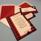 Red, black and white wedding invitations