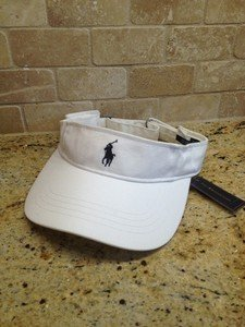 a254f4ee2d465 Polo Ralph Lauren Pony Visor Cap Hat Lid Golf Tennis WHITE Adjustable NWT