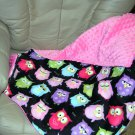 Owl Flannel and Pink Minky Baby Blanket