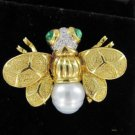 18KT YELLOW GOLD PIN BROOCH PEARL 9 DIAMOND 9.9DWT ANTIQUE INSECT FLY BEE FINE