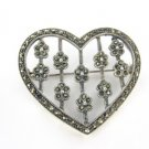 MARCASITE PIN BROOCH HEART FLOWER 7.3DWT STERLING SILVER JEWERLY VINTAGE PENDANT