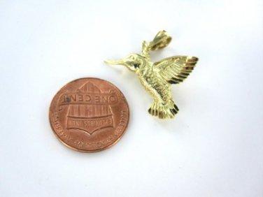 14KT YELLOW GOLD PENDANT CHARM HUMMING BIRD 1.6DWT DZ FANTASY NATURE JEWELRY
