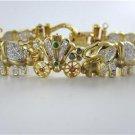 14K YELLOW GOLD DIAMOND BRACELET ELEPHANT DIAMOND CARRIAGE PRECIOUS STONE KTL