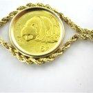 14K YELLOW GOLD COIN CHINA PANDA BRACELET 1987 COLLECTORS FINE JEWELRY WOMAN