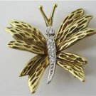 TIFFANY & CO. 18K YELLOW GOLD DIAMOND BUTTERFLY PIN VINTAGE COLLECTORS BROOCH