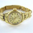 LADIES ROLEX VINTAGE 18KT YELLOW GOLD OYSTER PERPETUAL + BOX WOMAN WRISTWATCH