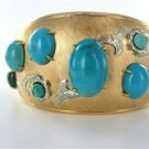 18KT YELLOW GOLD BRACELET BANGLE ANTIQUE VINTAGE TURQUOISE 31.3DWT CUFF SIGN DCF