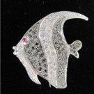 18KT WHITE GOLD 114 DIAMOND REEF ANGEL FISH PIN BROOCH 9.0DWT FINE JEWELRY