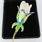 FLOWER ROSE PIN BROOCH 14K YELLOW GOLD ENAMEL 14.8 DWT VINTAGE COLLECTOR TULIP